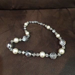 Jewelry - Chunky Crystal Rhinestone Ball Faux Pearl Necklace